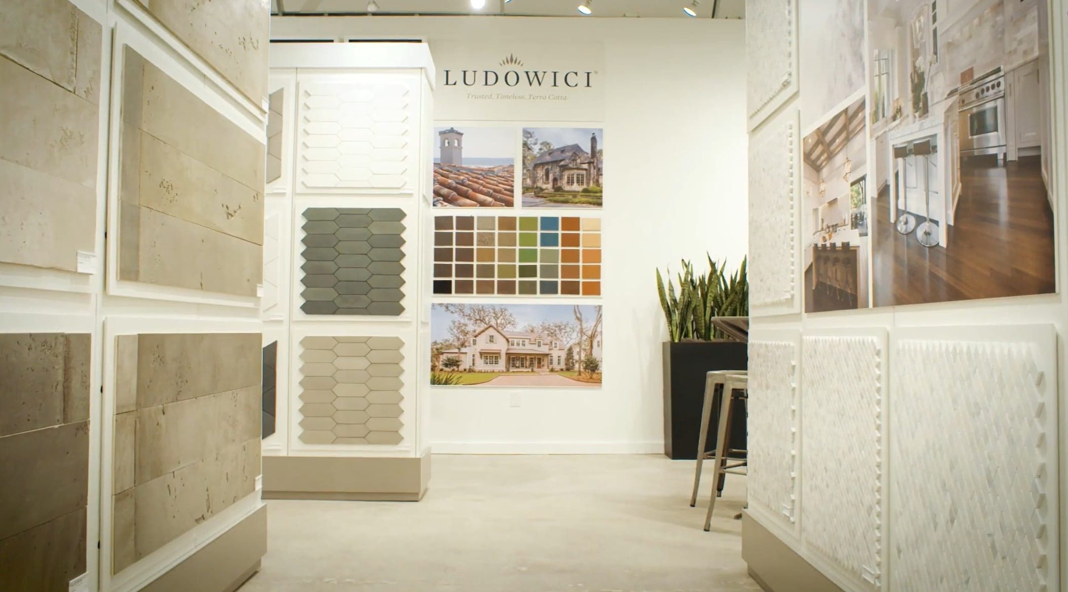 Ludowici has partnered with CIOT to include a partner wall on display in the Atlanta showroom.  This large display showcases a range of terra cotta tile profile and color options.