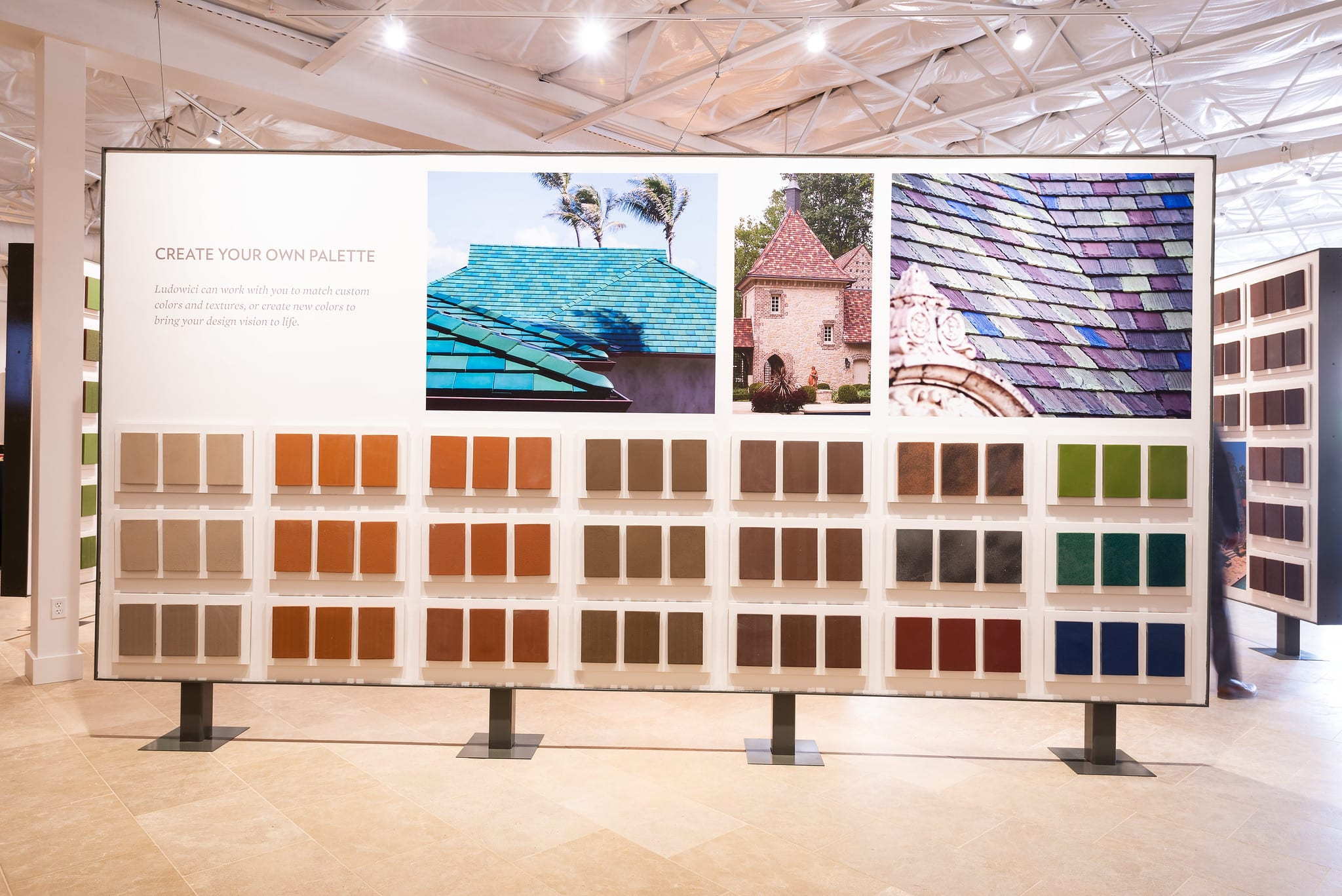 With over 45 roof tile displays, 200 texture and color boards, and 50 flooring vignettes – the design inspiration is endless.