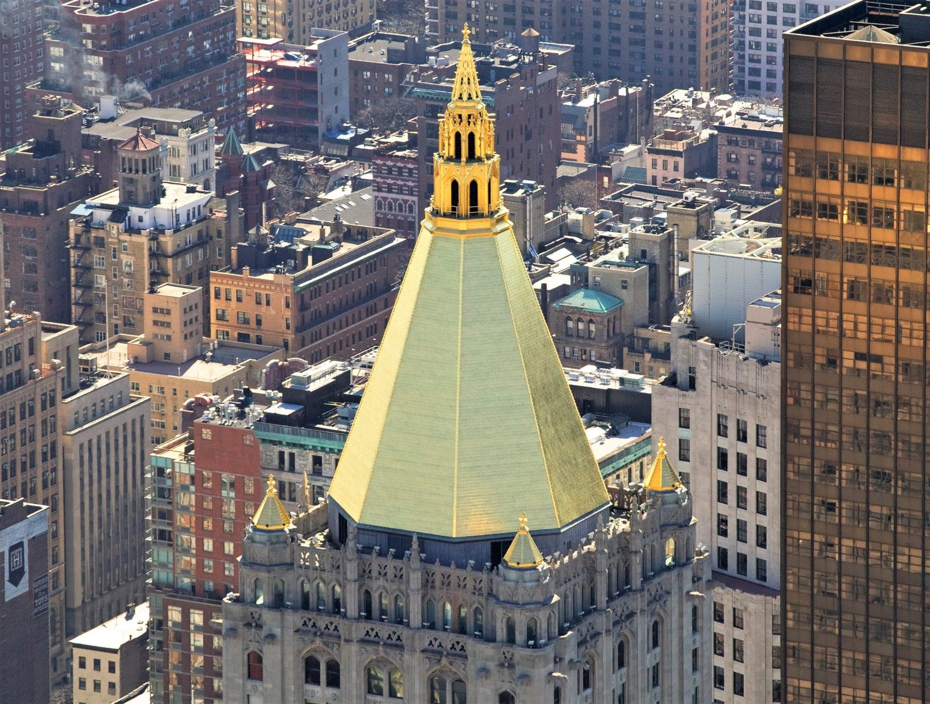 Real gold atop the New York Life Building in Manhattan,