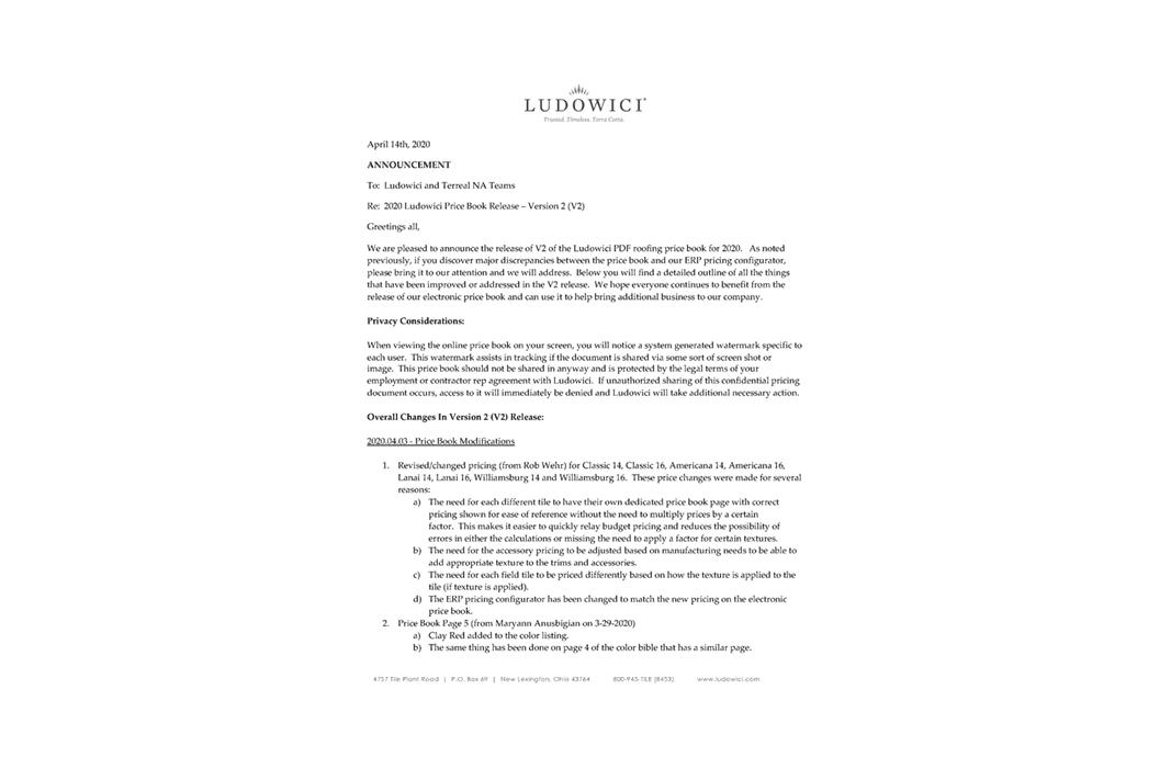 2020 Ludowici Price Book – V2 Release Info