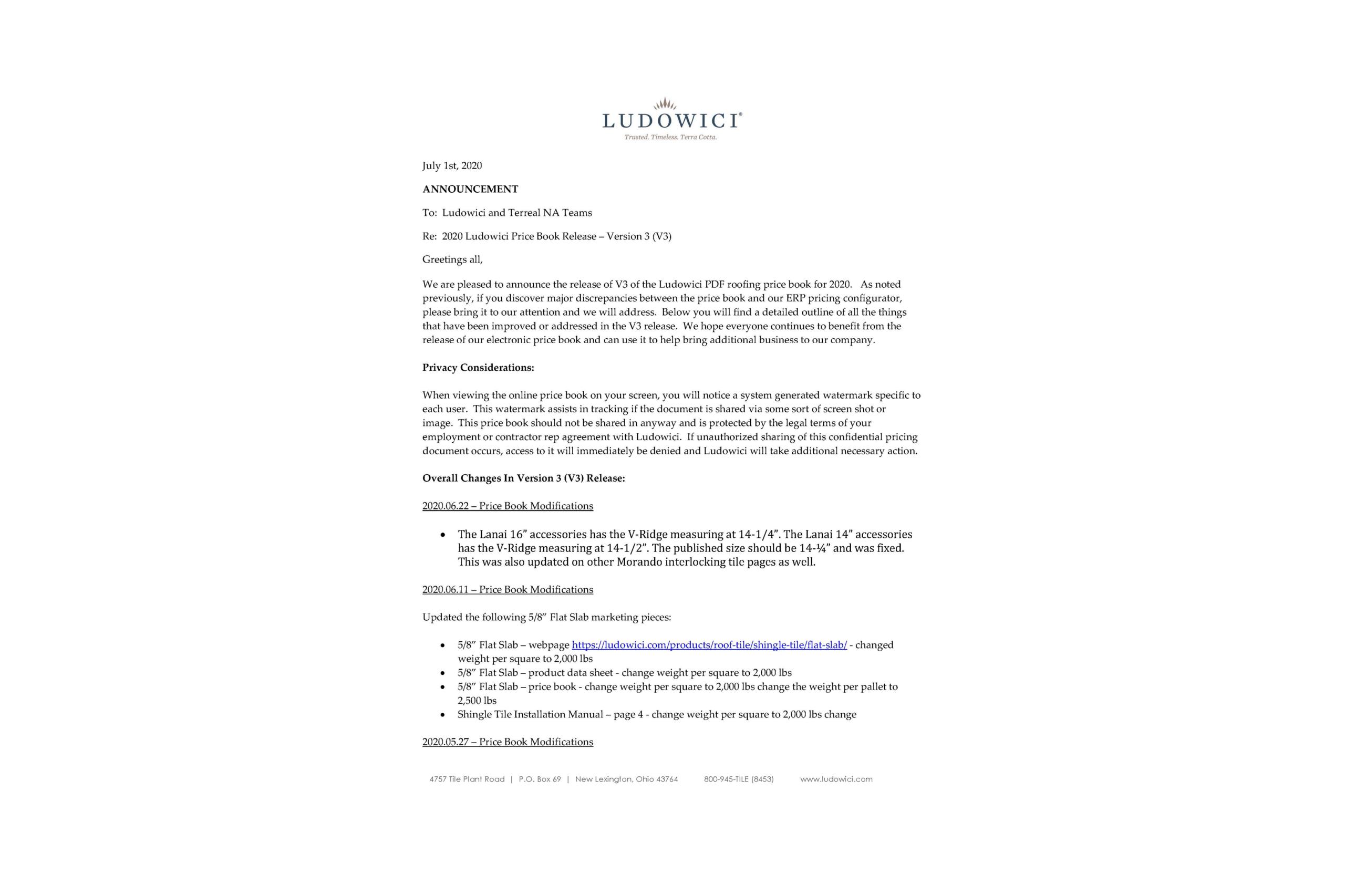 2020 Ludowici Price Book – V3 Release Info