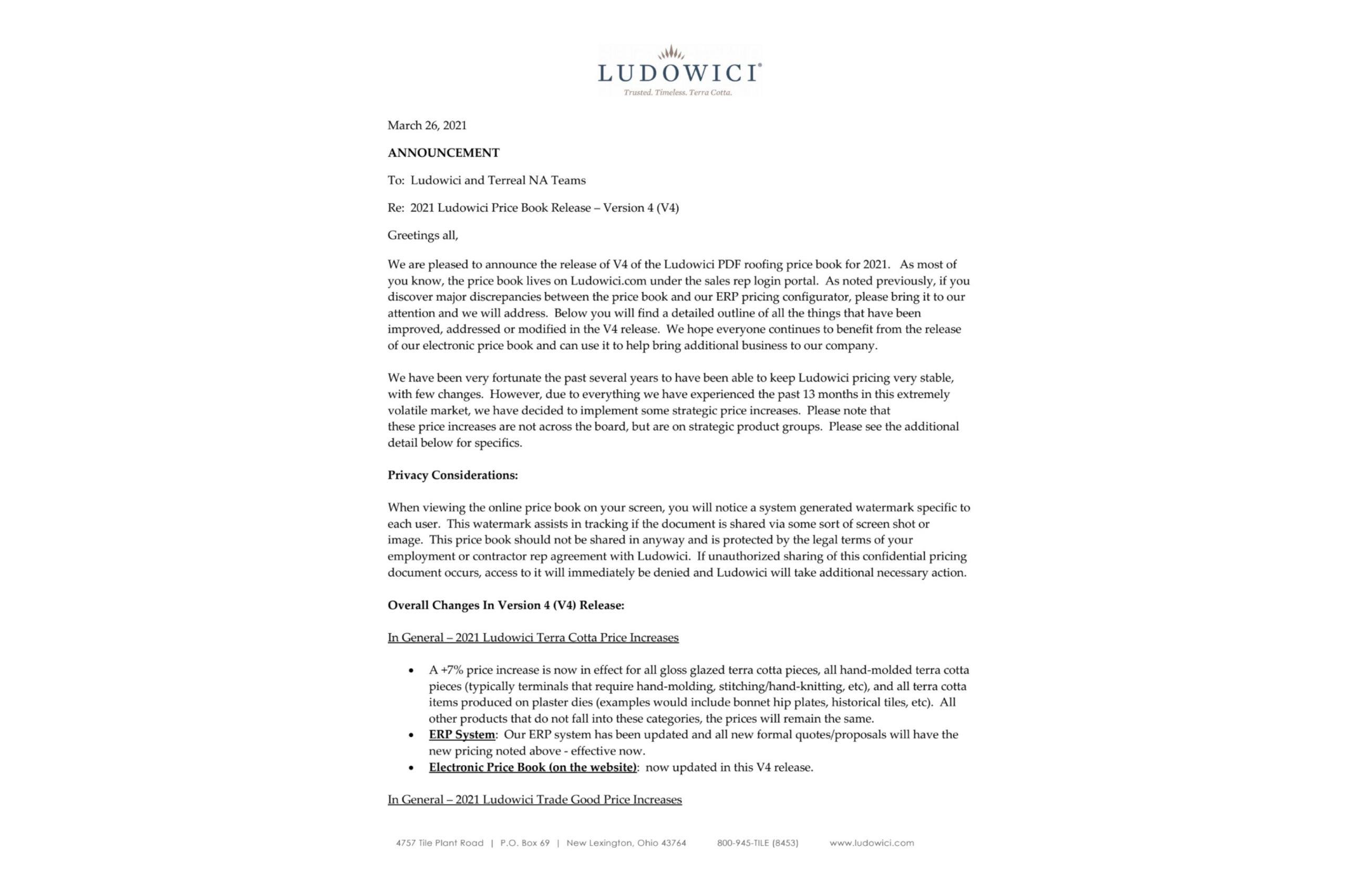 2021 Ludowici Price Book – V4 Release Info