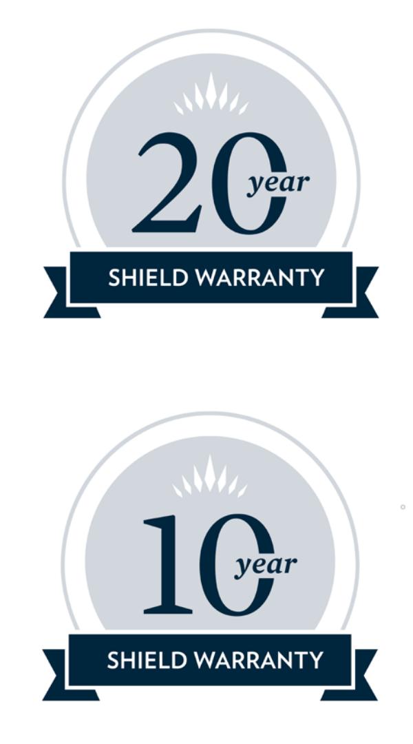 10 & 20 year Shield Warranty Badges