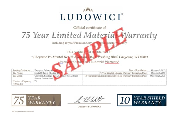 Ludowici 10-Year Shield Warranty