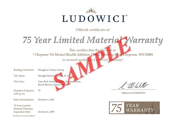 Ludowici 75-Year Warranty